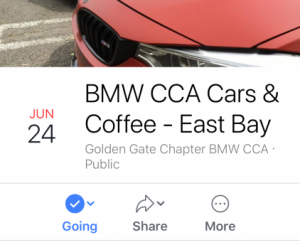 """Fun Run"" to BMWGGC Moraga Ca. C&C on June 24th, 2018"