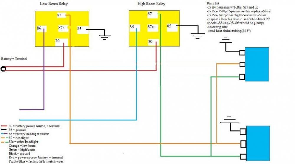 Headlight Relay Wiring Q